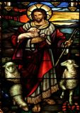 The Good Shepherd: Stained Glass Jesus with Lambs. Art Print/Poster. Sizes: A4/A3/A2/A1 (002059)